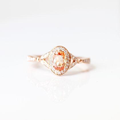 Rose Gold Oval Orange Sapphire & Diamond Ring