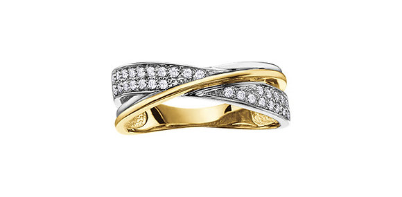 Two Tone Criss Cross Diamond Band