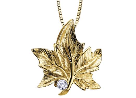 Yellow Gold Maple Leaf Canadian Diamond Pendant