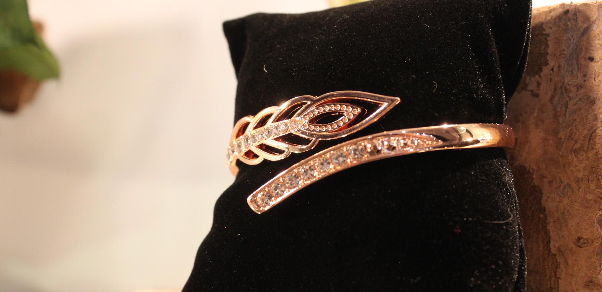 Pink Leaf Wrap Bracelet