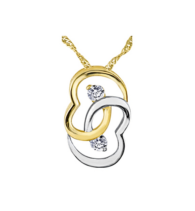 Two Tone Intertwined Diamond Pendant