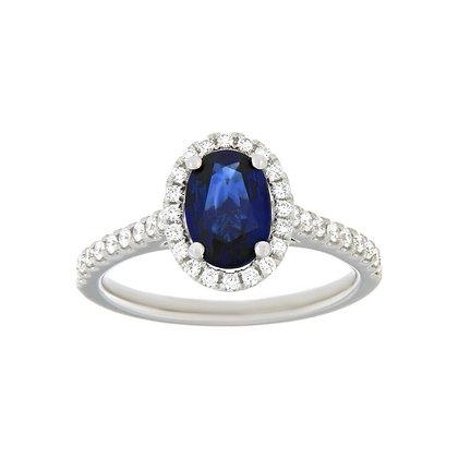 Oval Sapphire & Diamond Halo Ring