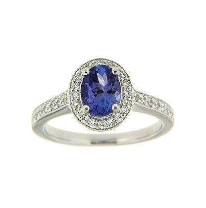Oval Tanzanite & Diamond Halo Ring