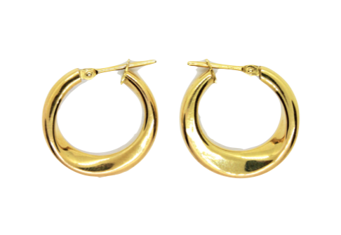 Yellow Gold Slightly Twisted Hoops
