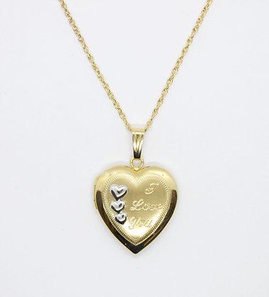 """I Love You"" Yellow Gold Heart Locket"