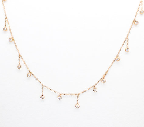 Rose Gold Round Stationed Drop Diamond Necklace