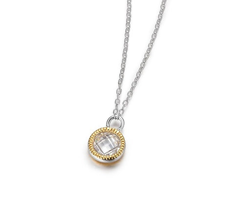 Silver & Rose Gold Plated Round Cubic Zirconia Pendant