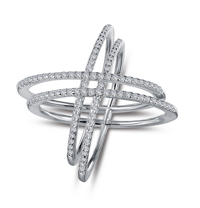 Double Criss Cross Simulated Diamond Ring