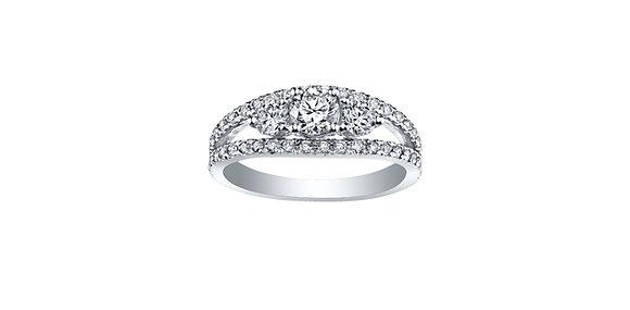 Canadian Diamond Split Shank Trinity Engagement Ring