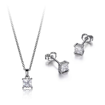 Princess Cubic Zirconia Claw Set Earrings & Pendant