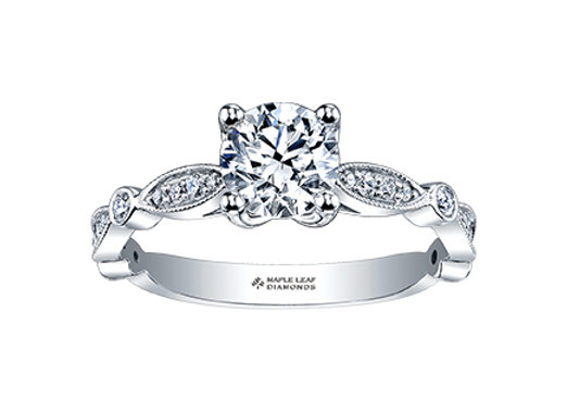 Brilliant Cut Diamond Ring with Cinched Band