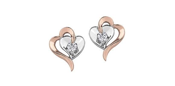 Two Tone Double Heart Stud Canadian Diamond Earrings