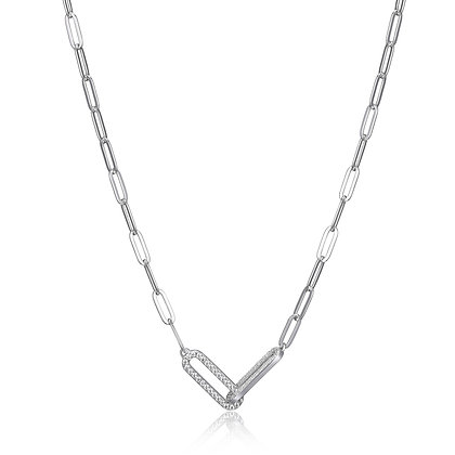 Silver Paper Clip Link Chain With Cubic Zirconia Accents