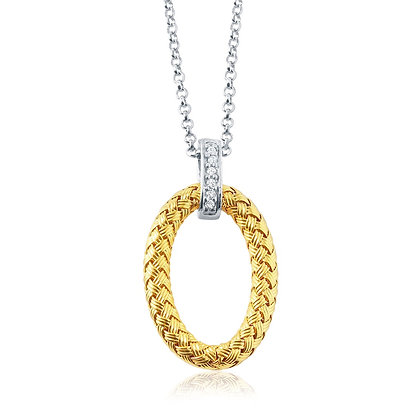 Yellow Gold Plated Oval Pendant
