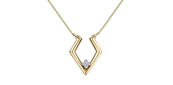 Yellow Gold Partial Diamond Shaped Pendant