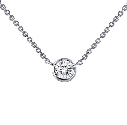 Silver Round Bezel Set Simulated Diamond Pendant