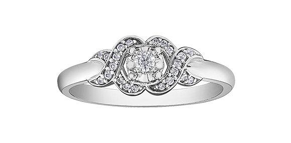 Round Cut White Gold Diamond Ring with Swirl Design Accent Diamonds