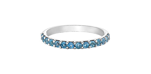 White Gold & Blue Topaz Stackable Ring