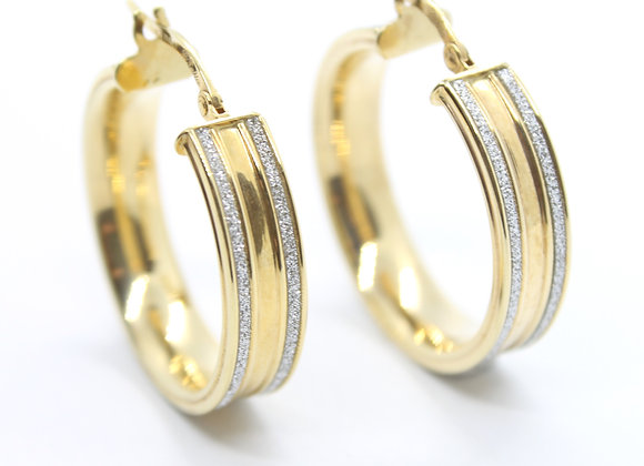 Yellow Gold Thick Hoop With Diamond Detailing