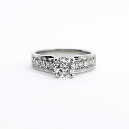 Round Diamond Engagement Ring With Claw Set Diamond Band