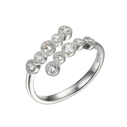 Silver Round Cubic Zirconia Wrap Ring