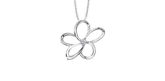 Silver Flower & Canadian Diamond Pendant