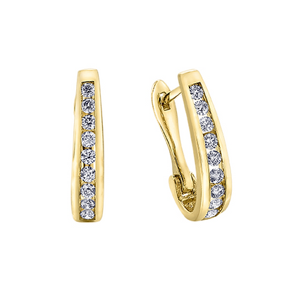 Yellow Gold Channel Set Huggie Earrings (0.25 cart)