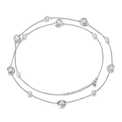 Silver Pearl Long Necklace