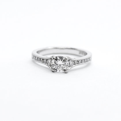 Round Diamond Engagement Ring With Tapered Diamond Band