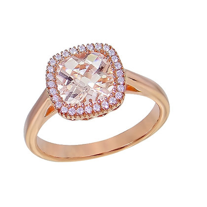 Cushion Cut Morganite & Diamond Halo Ring