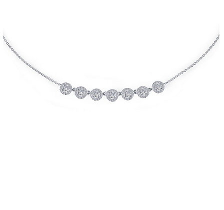 Round Halo Simulated Diamond Stationed Necklace