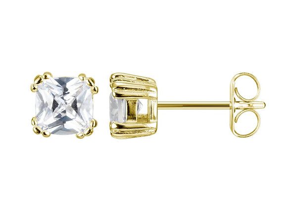 Gold Plated Cushion Cut Cubic Zirconia Studs
