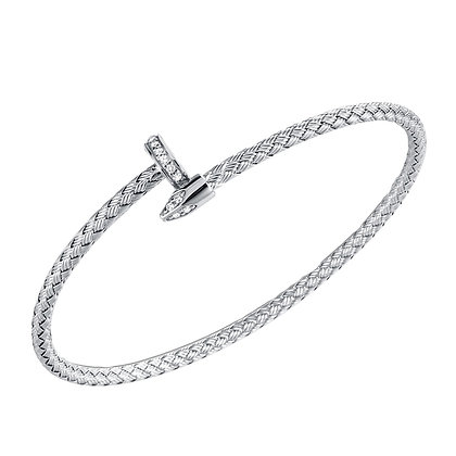 Silver Woven Nail Shaped Wrapped Bangle