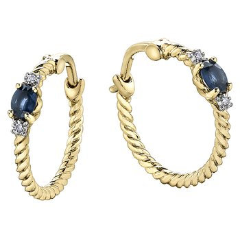 Sapphire Gold Rope Hoops