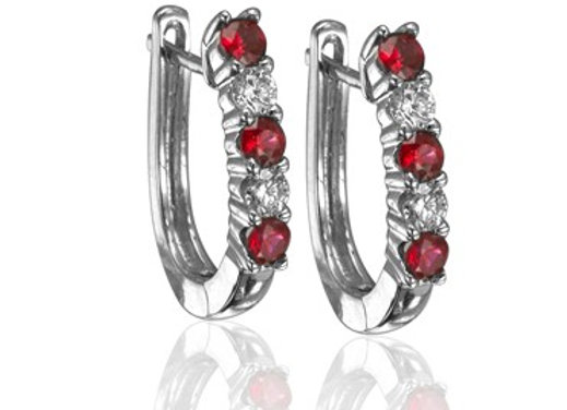 Ruby & Diamond Hoops