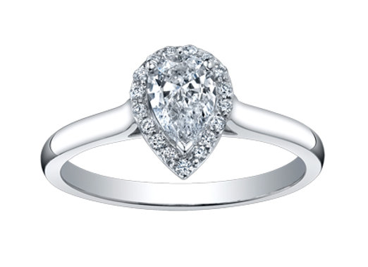 Pear Cut Diamond Ring With Halo (Bare Band)