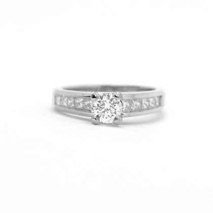 Round Diamond Engagement Ring With Princess Cut Diamond Band