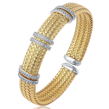 Yellow Gold Plated Mesh Cuff