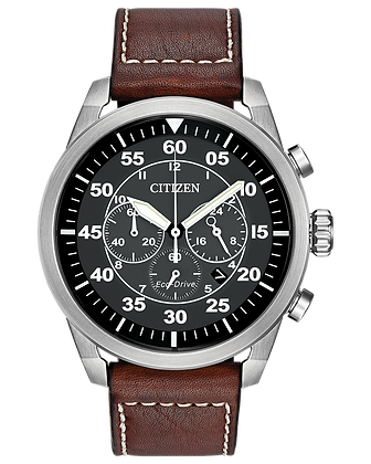 Citizen - Black Dial and Brown Leather Strap