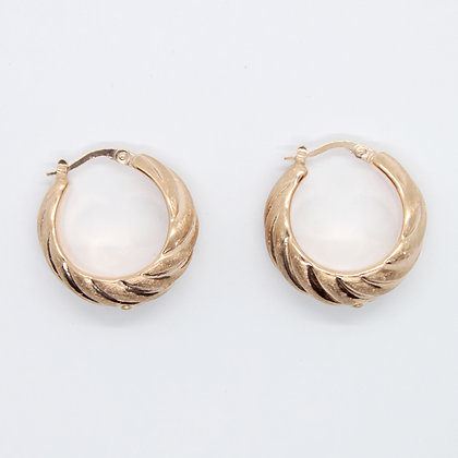 Rose Gold Satin Finish Tapered Hoops