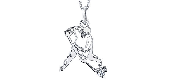 White Gold Hockey Player Pendant with Canadian Diamond