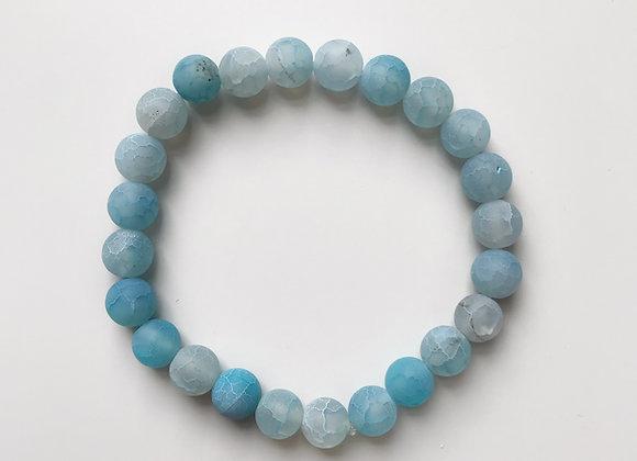 Blue Crackle Agate Beaded Bracelet