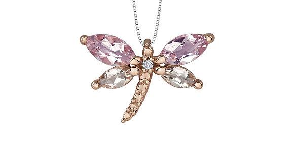 Lilac Amethyst & Morganite Dragonfly Pendant