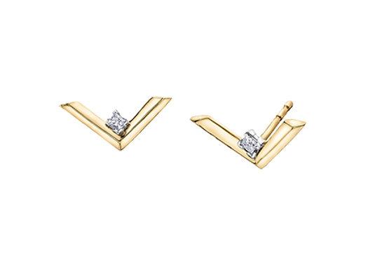 Yellow Gold & Diamond Chevron Earrings