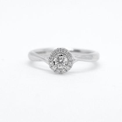 Round Cut Diamond Ring With Diamond Halo