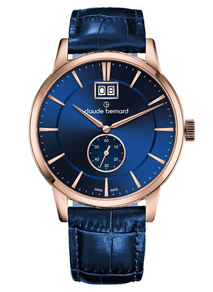 Black and Blue Leather Watch by Claude Bernard