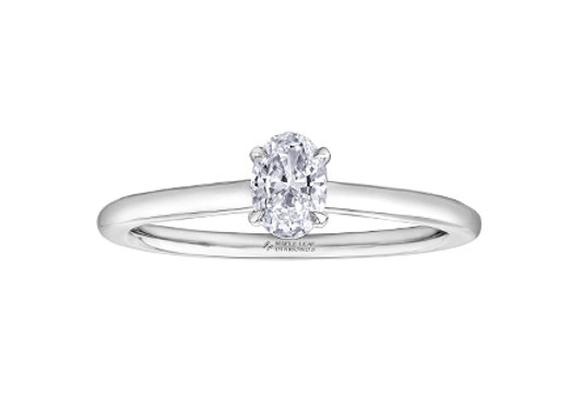 Oval Cut Canadian Diamond Engagement Ring with Surprise Halo