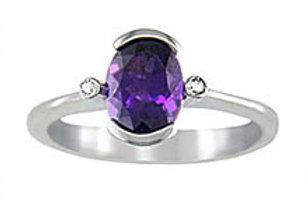 Oval Amethyst Half Bezel Ring