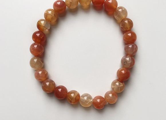 Fire Crackle Agate Beaded Bracelet