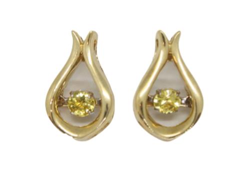 Round Yellow Sapphire Yellow Gold Earrings